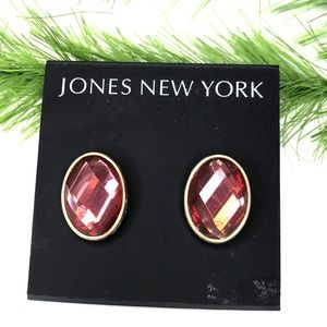 Jones New York coral/pink rhinestone earrings